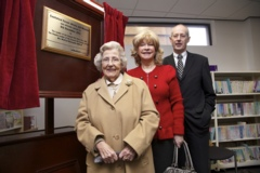 Official opening of Castleford Forum councilor Peter Box, deputy leader Denise Jeffery and Mrs Winnie McLoughin.